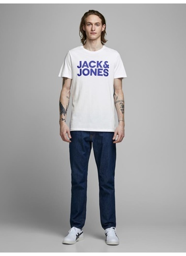 Jack & Jones Tişört Corp Logo Ss O Neck 12151955-Wht Beyaz